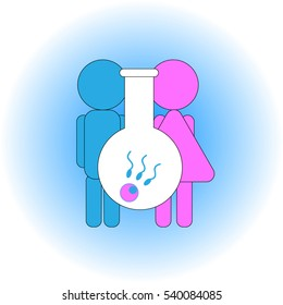 Assisted reproductive technologies - In Vitro Fertilization. The  definition of sex at fertilization by IVF. Stylized image of artificial insemination. Graphic element. Logo.