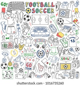 Association football or soccer doodle set. Vector drawing isolated on white background.