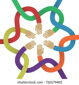 Association several intertwined multicolored hands flat style. Union of several colored intertwined hands for designers and illustrators. Sign of frendship in the form of a vector illustration