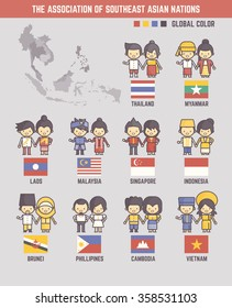 the association of southeast asian nations cartoon characters and flags