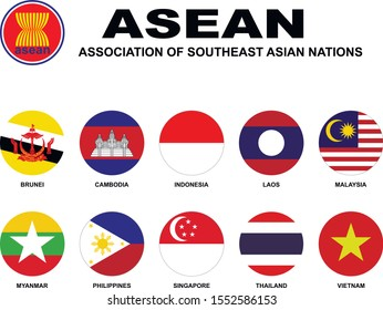 Association of Southeast Asian Nations(ASEAN). Flags of membership countries. Abstract concept, icon set. Vector illustration on white background.
