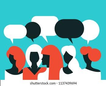 Association of women, community, womens unity, girls talking, girls chatting,  bubble text, online communication, female solidarity. Vector illustration