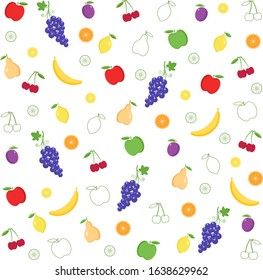 Assorted background of various fruits.