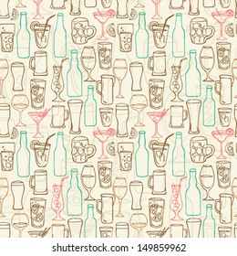 Assorted beer cocktail and alcohol background pattern