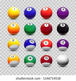 Assorted billiard balls isolated on transparent background. Vector design elements.