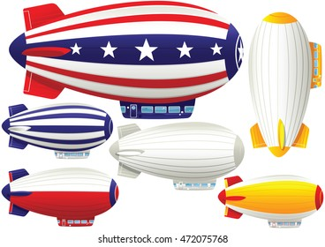 Assorted blimp airships.