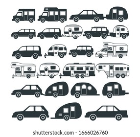 assorted camping car and trailer icon and logo design template