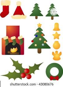 Assorted christmas holiday celebration clipart icon set