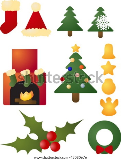 Christmas Holiday Clipart.Assorted Christmas Holiday Celebration Clipart Icon Stock
