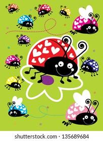 Assorted Colorful Ladybugs