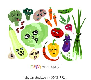 Assorted cute vegetables are made in childish funny style.