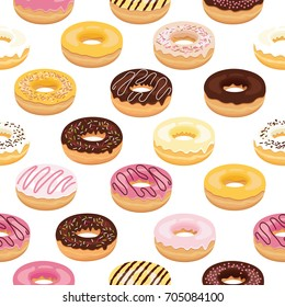 Assorted donuts seamless pattern on white background. Cartoon donuts vector.