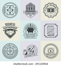 Assorted Financial Business Insignias Logotypes Template Set. Line Art Vector Elements.
