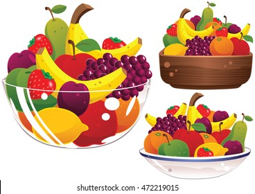 Assorted fruit bowls.