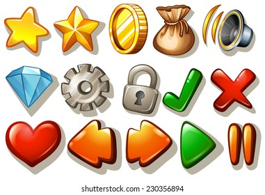 Assorted gaming design elements on white