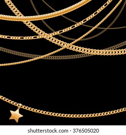 Assorted golden chains on dark black background with star pendant. Good for cover card banner luxury design.