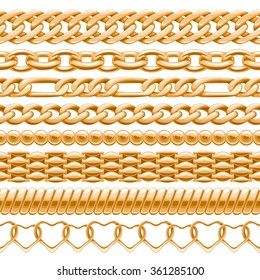 Assorted golden chains on white seamless background. Vector brushes for your design.