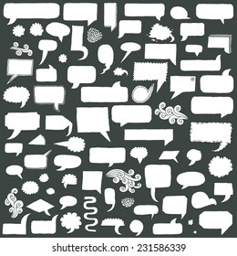 Assorted hand drawn doodle speech bubbles on black vector set.