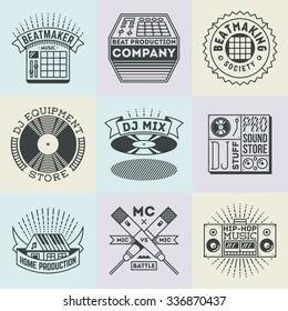 Assorted Hip-Hop Music Insignias Logotypes Template Set. Line Art Vector Elements.