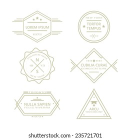 Assorted line vintage retro badges and labels collection on white background