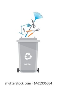 Assorted metal trash in special urn. Vector recycle concept. Bins for recycling with sorted garbage and rubbish.