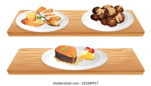 Assorted mixed foods on plates.