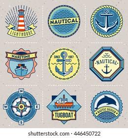 Assorted Nautical Logotypes Color Set. Thin Line Art Vector Vintage Style Elements. Elegant Geometric Design.