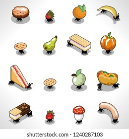 Assorted picnic ants carrying various food items such as fruit, sandwich, waffle, sausage (isometric illustration)