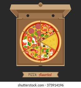 Assorted pizza in the opened cardboard box. Vector flat illustration of pizza.