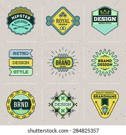 Assorted retro design color hipster insignias logotypes set 9. Vector vintage elements.