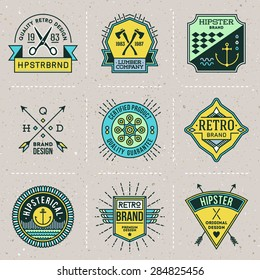 Assorted retro design color hipster insignias logotypes set 7. Vector vintage elements.