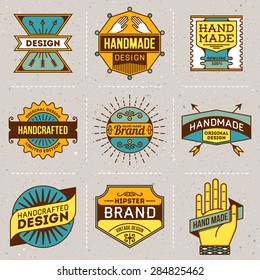 Assorted retro design color insignias logotypes set 10. Vector vintage elements.