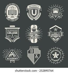 Assorted retro design insignias high education logotypes set 1. Vector vintage elements.