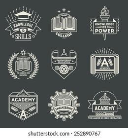 Assorted retro design insignias high education logotypes set 2. Vector vintage elements.