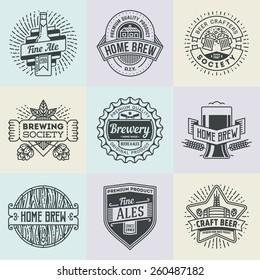 Assorted retro design insignias line art logotypes home brewery set 2. Vector high quality vintage elements.