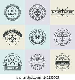 Assorted retro design insignias logotypes set 3. Vector vintage elements.