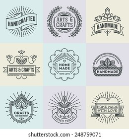Assorted retro design insignias logotypes set 12. Vector vintage elements.
