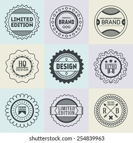 Assorted retro design insignias logotypes set 17. Vector vintage elements.