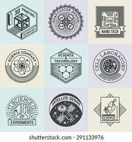 Assorted Science Insignias Logotypes Template Set. Line Art Vector Elements.