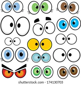 Assorted set of female, and male, vector cartoon eyes.