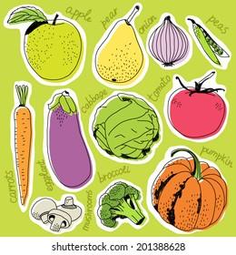 Assorted vegetable vector illustration