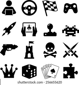 Assorted video game  icons and symbols