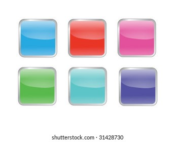 an assortment of 6 colored glossy square tiles. (design element)