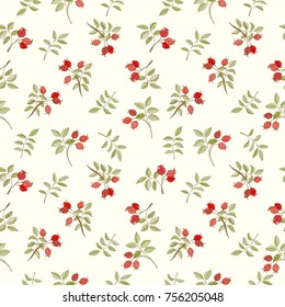 Assortment autumn seamless pattern for wallpaper, website or textile printing Hand drawn endless illustration of hawthorn branches on light background
