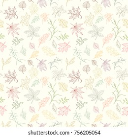 Assortment autumn seamless pattern for wallpaper, website or textile printing Hand drawn endless illustration of bright elements on light background