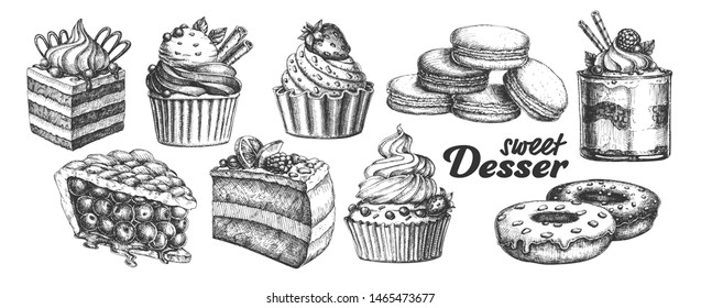 Assortment Baked Sweet Dessert Set Vintage Vector. Chocolate And Fruit Cakes, Macaroons And Donuts, Berries Pie And Creamy Caseous Dessert Concept. Designed Template Black And White Illustrations