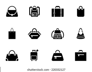 Assortment of Black Baggage Icons on White Background