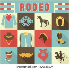 Assortment of Colorful Rodeo Themed Icons in Grid Pattern