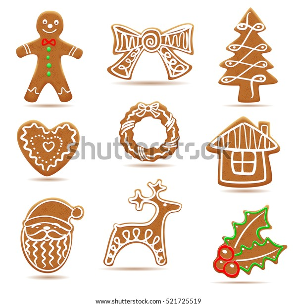 Assortment of delicious gingerbread cookies decorated with white frosting and shaped like various objects