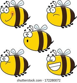 Assortment of funny cartoon vector bees.